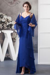 Spaghetti Straps Royal Blue Beaded Layered Chiffon Mother Dress